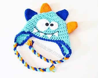 Crochet Monster Hat | Kids monster hat, monster face hat, kids monster hat with diaper cover, kids monster ear flap hat, baby monster hat