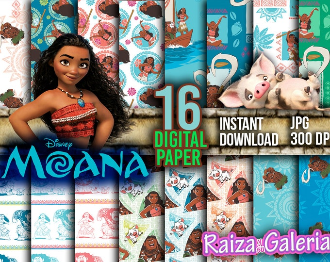 AWESOME Disney MOANA Digital Paper. Instant Download - Scrapbooking - MOANA Mawi Pua Printable Paper Craft!