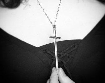 LONG SWORD NECKLACE weapon battle occult symbolism rapier swordplay witch tarot ace