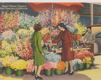 Linen Postcard, Street Flower Vendors, San Francisco, California, Vintage Postcard, Ephemera