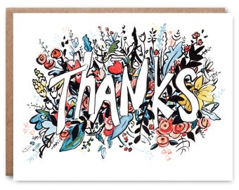 Thank You - Illustrated blank card, Thanks, 4.5x5.25