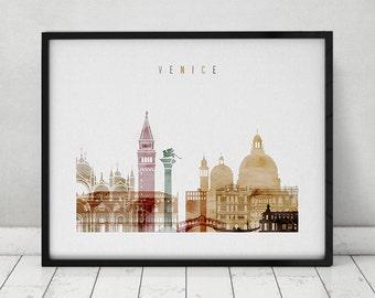 Venice art print, watercolor Poster, Wall art, Venice skyline, Italy cityscape, City poster, Typography art, Home Decor, ArtPrintsVicky