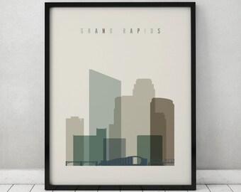 Grand Rapids print, Poster, Wall art, Travel, Michigan cityscape, skyline, City poster, Typography art, Home Decor, ArtPrintsVicky