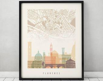Florence art poster, Florence street map Print, Wall art, Italy, Firenze skyline, City poster, Travel art, Home Decor Print, ArtPrintsVicky