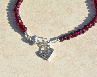Garnet Gemstone Bracelet, Beaded Bracelet, January Birthstone, Sterling Silver Heart Charm, Friendship Bracelet, Gemstone Bracelet, Gift
