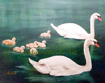 Eight Swans Swimming 5x7 Blank Greeting Card with Envelope