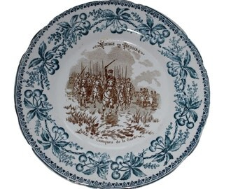 French Blue Transferware Plate - Russian Soldiers The Cossacks of the Watch - Choisy Le Roi Plate Russia Journey Number 12 Voyage Russie