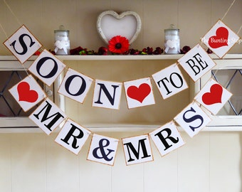 Engagement banner, Soon to be banner, Mr and Mrs banner, Engagement gift, Bridal shower party decor