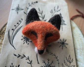 Needle felted fox pin