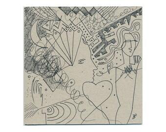 H. Babu 15/15 cm (5.9/5.9 inch) hand-drawn