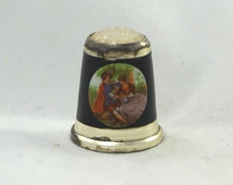 RARE Vintage Sterling Silver Enamel Serenading Victorian Lovers/Couple Park Scene Glass Topped #7 Thimble