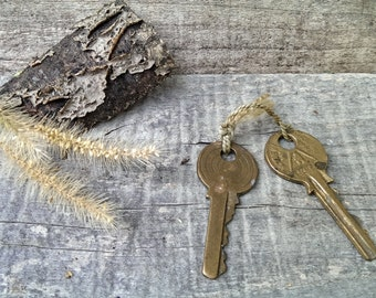 Set of 2 Vintage Brass European Key, Old Keys from 1970 s, Rustic Home Decor