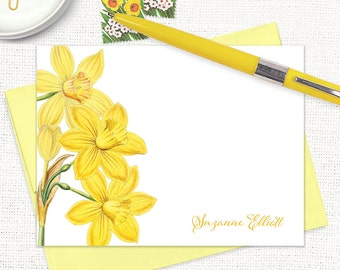 personalized flat note cards - YELLOW DAFFODILS - narcissus - set of 12 cards - floral stationery - flower stationary - botanical