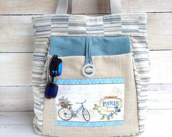 Everyday Large Shoulder Bag, Paris Bicycle everyday large tote, oversize carryall, blue large handbag, big shoulder tote, handmade, fabric