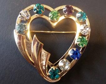 12K GF Stamped, Hallmarked, Colorful Rhinestones Heart Brooch.