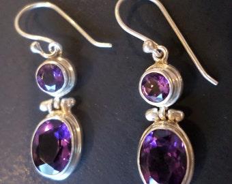 Sterling Silver 925 Stamped, Amethyst Stones Dangle Earrings.
