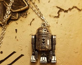 R2D2 Necklace,  Pendant,  Silvertone