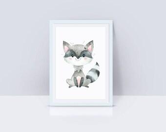Printable Raccoon Nursey Decor, Raccoon Instant Download, Raccoon Nursery Decor, Nursery Wall Art, Raccoon