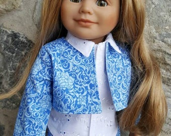 Jacket  for Doll - Blue Print - Partially Lined - Fits All 18 inch Dolls Like Maplelea -  American Girl - Journey Girl - My Life - Newberry