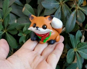 Sale!Little Holiday fox polymer clay figure//handmade//gift ideas//keepsake//woodland animals//kawaii