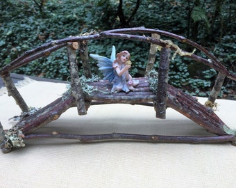 Fairy Miniature Bridge All Natural Moss Twigs Outdoor Garden