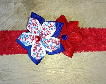 4th of July headband, 4th of July, flower headband, red and blue bow, red white and blue bow, Independence day bow, 4th of July bow