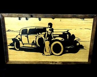 Reclaimed Barnwood Wall Art Duesenberg Lady