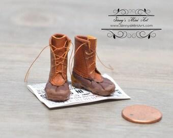 1:12 Dollhouse Miniature Shabby Boots on Old Newspaper/ Miniature Boots Miniature Shoes ATTH F-1H