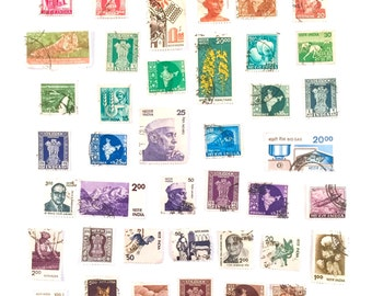 40 x used Indian postage stamps, all different, all off paper - India - for collage, stamp collecting, ephemera, stamp art and crafting