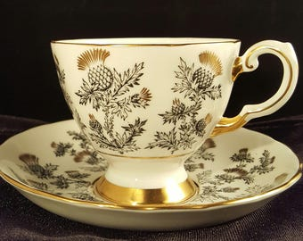 Vintage Tuscan Fine English Bone China Teacup and Saucer - Thistle pattern