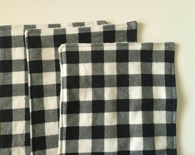 Black and white plaid burp cloths 3 pack