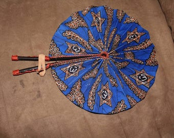 African Fabric with Leather Fan
