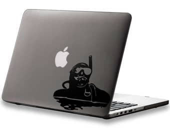Scuba Diver in water Sticker for Apple Macbook and other Laptops | Scuba Diving Dive Marinelife Scubalife Underwater Scubapro Free Sealife