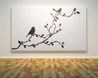 Birds on a Tree Branch Wall Decal Sticker | Nature Decals | Relaxing and freshening decor for your home | Serenity Peace Beautiful Calming