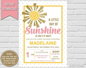 Sunshine Baby Shower Invitation| You Are My Sunshine Baby Shower Invitation,  Sunshine Invitation,