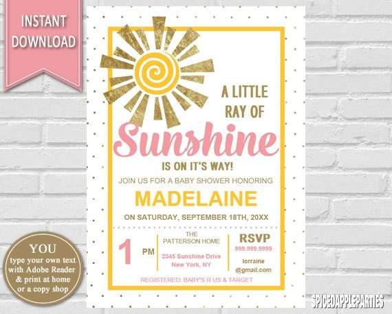 Sunshine Baby Shower Invitation| You Are My Sunshine Baby Shower Invitation,  Sunshine Invitation, Sunshine Shower, Girl Baby Shower,