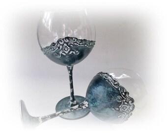 Antique Wine Glasses Wedding Glasses Wedding Toasting Glasses Wedding Bride and Groom Wedding Gift Rustic Wedding Celebration