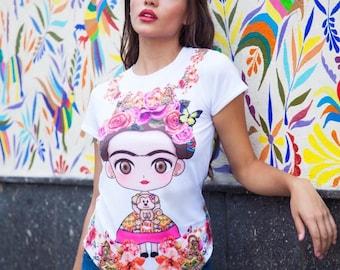 t-shirt Frida flowers woman t-shirt