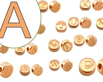 alphabet bead A 7mm rosegold plated #3742