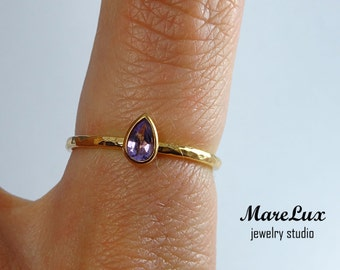 14K Gold Fill Natural Amethyst Hammered Ring, 5x3 mm Pear Teardrop Amethyst Rose Gold Fill Ring, Textured Hand Hammered Rose 14K Gold Ring