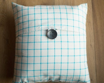 16x16 teal and gray button tab throw pillow cover