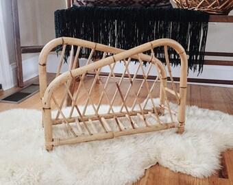 Rattan magazine rack, blanket rack, magazine holder, bamboo magazine rack, magainze storage holder, rattan magazine organizer
