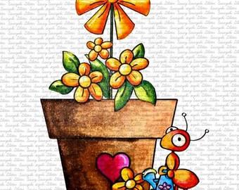 Image #31 - Flower Ant by Sasayaki Glitter Digital Stamps - Naz - Line art only - Black and White