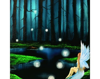 Peace In Perfect Places - Sizes 8x10, 11x14, 16x20, 20x24, Digital Art Prints, Oil Painting By GLuxArt, Fantasy Fine Art, Fairy wall art