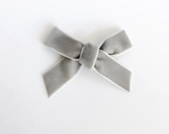 the VELVET bow || Gray; chunky velvet bow