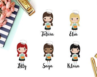 Cooking, Baking, Meal | Girl (matte planner stickers, perfect for planners)