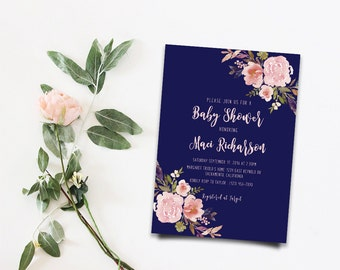 Boho Baby Shower Invite Floral Baby Shower Invitation Printable Gold Foil Typography Bohemian Baby Shower Spring Baby Shower Floral Invites