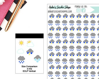 Rain Rainy Storm Stormy Thunder Storm Weather Planner Stickers