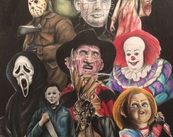 Classic horror print A4 pennywise, Freddy Kruger, Halloween, Chucky, scream, jeepers creepers, Texas chainsaw, exorcist, horror movie