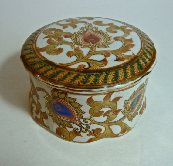 ORIENTAL ACCENTS ~ Covered Dish ~ Vintage Oriental Accents ~ Hand Painted Porcelain Covered Container ~ Made in China